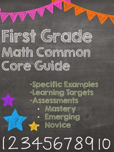 The First Grade Math Common Core Guide is here and ready for download!  This guide breaks down the the learning standards in an easy to understand way.  It has the learning standards, I Can Statements, Assessments (Mastery, Emerging, and Novice)  and specific examples of what each standard means.  Parents as well as teachers have loved these guides.  :-)  Stay tuned: Grades 2-8 coming in the next few days!  Did I mention this is FREE!