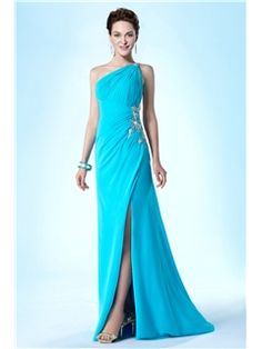 New Fashionable One Shoulder Column/Sheath Beading Sweep/Brush Evening/Prom Dress $114