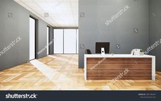 Mock Scene Office Desk Standing Office ภาพประกอบสต็อก 1681796443 Scene, Office Desk, Table, Room, Furniture, Home Decor, Bedroom, Desk Office, Desk