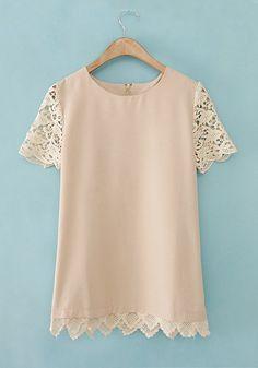 Apricot Patchwork Short Sleeve Wrap Cotton Blend T-Shirt