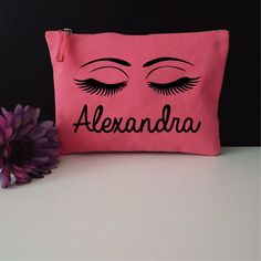 Custom Name Makeup Bag. Cosmetic Bag. Birthday Gift. Mother's Day Gift. Eyelashes Makeup Bag. by SoPinkUK on Etsy