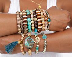STYLE TIP Gemstone OM Mala Bracelet Yoga by ExpressionsBracelets, $25.00