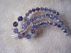 1950's Iris Glass Brooch Catherine Wheel by Vintage0Sparklers