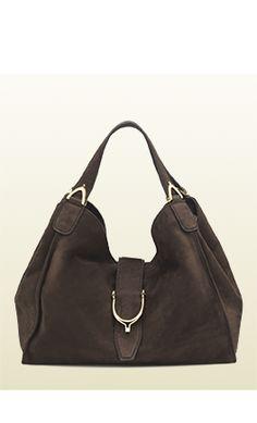 Gucci Stirrup Bag in brown nubuck leather