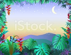tropical moonrise royalty-free stock vector art