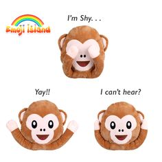 Popular monkey emoji pillow. It contains magnets so you can make cute faces with it♥