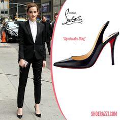Emma Watson in Christian Louboutin Apostrophy Sling Patent Leather Pumps - ShoeRazzi