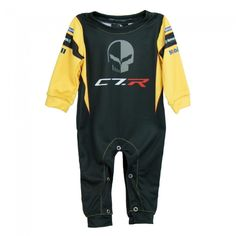 "Infant C7.R Sublimated Onsie - Black/Yellow/Gray  This ""Jake"" C7.R sublimated onesie will have people mistaking your little one as part of the Corvette Racing Team! 100% polyester. Imported. (Not intended for sleepwear).  SKU: BK2-TM463"