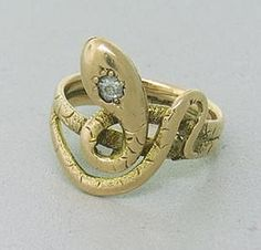 19C, Snake Ring --- Finger ring, gold, set with a single diamond.