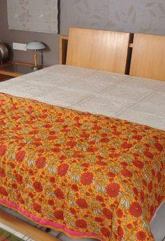 Handmade Cotton Floral Hand Block Print Double Size Jaipuri Reversible Quilt RajRang