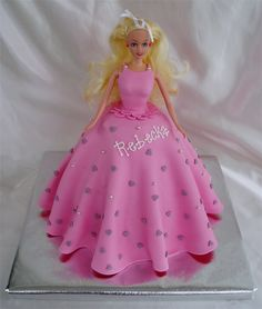 Barbie cake - Barbie cake with silver dragees and heart shaped sprinkles
