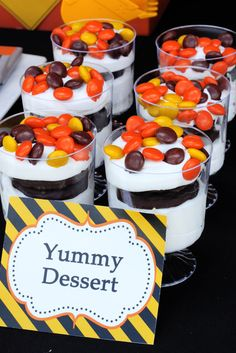 Yummy dessert at a Construction Birthday Party!  See more party ideas at CatchMyParty.com!  #partyideas #construction