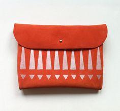 CLUTCH // iPad Mini Case // orange suede with silver tribal pattern