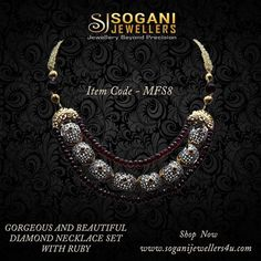 #Gorgeous_And_Beautiful_Diamond_Necklace_With_Ruby. Buy elegant and stunning Ruby Diamond Necklace at Sogani Jewellers. #Shop_Now www.soganijewellers4u.com Item Code-MFS8 #Visit_Our_Store #Sogani_Jewellers  C-19, Vaishali Marg, Vaishali Nagar Jaipur. Call- +919799809156, 0141-4024656.