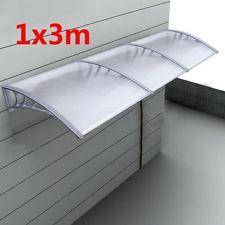 Polycarbonate Window Awning Outdoor DIY Door Rain Canopy Patio Sun Cover  1mx3m