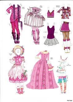 """Pink! Dress a Doll"" (7 of 8) paper doll by Charlotte Whatley, costumes by many diff. designers   Övriga 3   Maggans nostalgiska klippdockor"