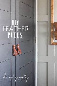 DIY Leather Pulls! Perfect for cabinets or doors! See the full tutorial from The Wood Grain Cottage