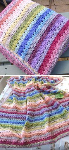 Crochet Ripple Blanket, Crochet Baby Blanket Free Pattern, Afghan Crochet Patterns, Free Crochet, Crochet Blankets, Dishcloth Crochet, Crocheted Afghans, C2c Crochet, Crochet Kids Hats