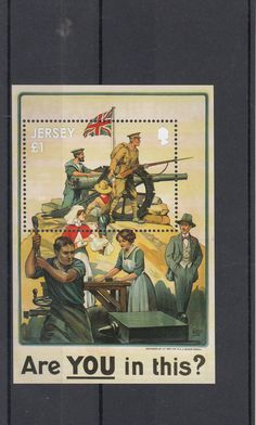 Jersey 2014 MNH WW1 Great War Part 1 Participation 1v SS Posters First World WWI