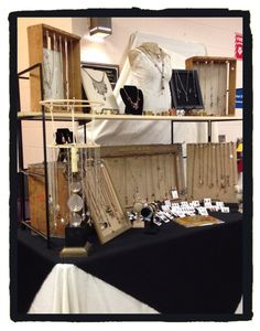 This is my booth display at a small venue.  I managed to get all my jewelry on one table. LjBlock Designs