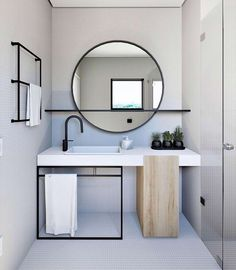 Home Interior Layout Mirror With Shelf Q.Home Interior Layout Mirror With Shelf Q Modern Bathroom Design, Bathroom Interior Design, Decor Interior Design, Minimal Bathroom, Interior Decorating, Interior Design Simple, Minimal Home Design, Minimalist Design, Interior Ideas