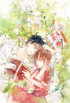 C o u p l e illustration Manga Anime, Anime Couples Manga, Cute Anime Couples, Anime Art, Manga Love, Anime Love, Couple Illustration, Illustration Art, Manga Watercolor