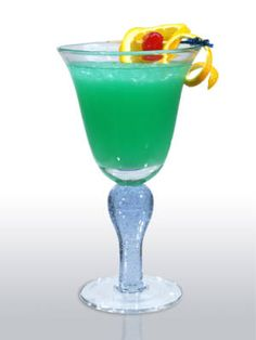 Cocktails to Sip on St. Patrick's Day:     7. Green With Envy    1½ oz. Blue Ice Vodka  ½ oz. Blue Curacao  2½ oz. sweet & sour mix  2 oz. orange juice  Garnish: orange slice and maraschino cherry    Combine all ingredients in a blender, add crushed ice, and blend on a high speed. Pour into a hurricane style glass, and garnish with an orange slice and a maraschino cherry arranged on a pick.