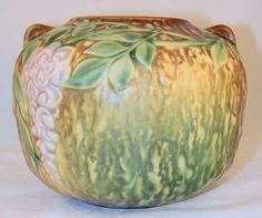 Roseville Pottery Wisteria Brown Squat Vase