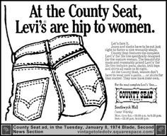 Ad for women's Levi's from the gone-and-truly-missed County Seat stores.