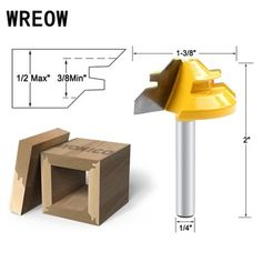1Pc 45 Degree Lock Miter Router Bit 1/4 Inch Shank Woodworking Tenon Milling Cutter Tool Drilling Milling For Wood Carbide Alloy