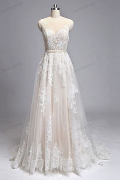 Vintage Lace Wedding Dresses Handmade Sheer Mesh por loveinprom
