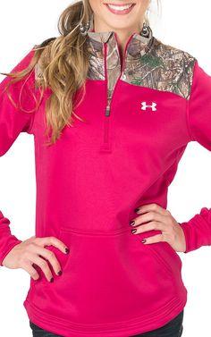 Under Armour Women's Caliber Fury Pink and Camo 1/4 Zip Jacket   Cavender's