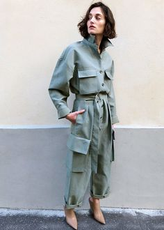 Women's Fashion Tips Sage Green Utility Jumpsuit The Frankie Shop.Women's Fashion Tips Sage Green Utility Jumpsuit The Frankie Shop Trend Fashion, Fashion Week, Look Fashion, Winter Fashion, Fashion Outfits, Womens Fashion, Dressy Outfits, Cheap Fashion, Affordable Fashion
