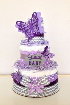 Items similar to Chevron Gray and Purple Lavender Butterfly Diaper Cake Baby Shower Centerpiece on Etsy Baby Shower Diapers, Baby Shower Cakes, Baby Shower Parties, Baby Showers, Kid Parties, Baby Shower Purple, Butterfly Baby Shower, Purple Baby, Pink Purple