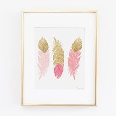 Pink and Gold Feathers Art Print Love Arrows by PennyJaneDesign