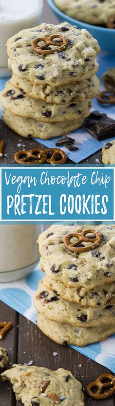 These vegan chocolate chip pretzel cookies are just irresistible!! I think it's the combination of salty and sweet that always gets me... | veganheaven.org