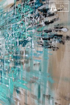 Close up of wall decor artwork diy painting teal, turquoise, blue, silver, calming