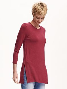 Relaxed Long and Lean Tunic Tee for Women