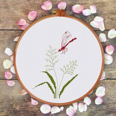 Dragonfly and Grass cross stitch pattern modern by ThuHaDesign
