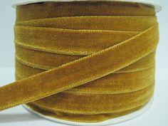 5 yards 1/2 Classic Gold Velvet Ribbon Gold Ribbon by ichimylove