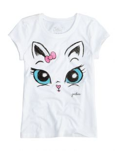 Cat Face Graphic Tee Fashion for Tween Girls