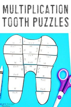 These MULTIPLICATION puzzles work great for Dental Health Month activities in February. Use them as math centers, review, early or fast finishers, test prep, and more with 3rd, 4th, or 5th grade students. Third, fourth, and fifth graders all enjoy the hands-on, engaging learning FUN that takes place. Click to learn more now! #3rdGradeMath #4thGradeMath #5thGradeMath #DentalHealthMonth #Teeth #Tooth #Math #MathGames #MathCenters #MathPuzzles