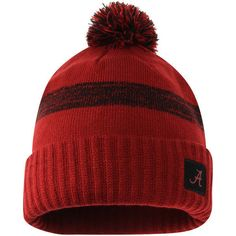 Nike Crimson Alabama Crimson Tide Textured Cuffed Knit Hat with Pom ($22) ❤ liked on Polyvore featuring accessories, hats, nike, nike hat, alabama crimson tide hats, knit pom hat and pom pom hat