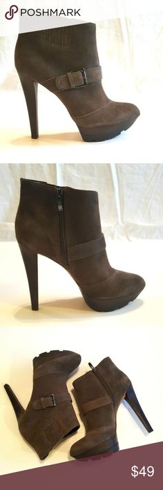 """Enzo Angiolini Larusso Taupe Suede Boots Brand New, Never Worn Enzo Larusso Boots in Taupe Suede.  Comes in original box.   Approximate Measurements: Heel height: 5.25"""" Platform: 1.25"""" Enzo Angiolini Shoes Heeled Boots"""