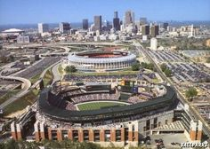 My 2 favorite baseball stadiums in the entire world, side by side,  Fulton County Stadium and The Ted. :)