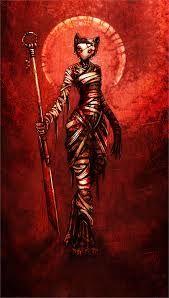 BASTET  Ligada à fertilidade, é a deusa da sexualidade e do parto. Após o ano 1000 a.C., sua imagem ganhou a forma de gato - animal que para os egípcios traz boa sorte. É mais uma das filhas de Rá.