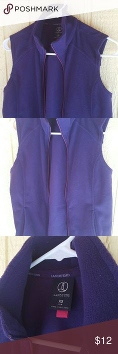 Lands' End Fleece 💜💜💜 Purple, pink zipper. Like new condition. Fits like a small, runs big, I wore it as a small size and am usually a small medium top in misses. Lands' End Jackets & Coats Vests