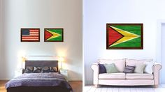 Guyana Country Flag Texture Canvas Print with Brown Custom Picture Frame Home Decor Gift Ideas Wall Art Decoration