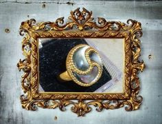 Beautiful Spiral 14k Black Mother-of-Pearl Ring Size 7  #QVC #Cocktail
