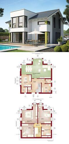 Einfamilienhaus mit Satteldach Haus Evolution 154 V7 von Bien Zenker - Fertighaus Grundriss Architektur modern